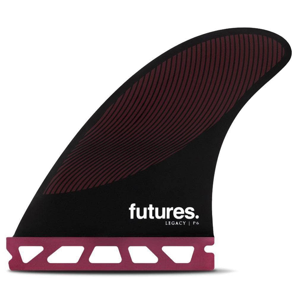Futures P6 Legacy Surfboard Fins - Burgundy Black Futures Single Tab Fins by Futures Medium Fins