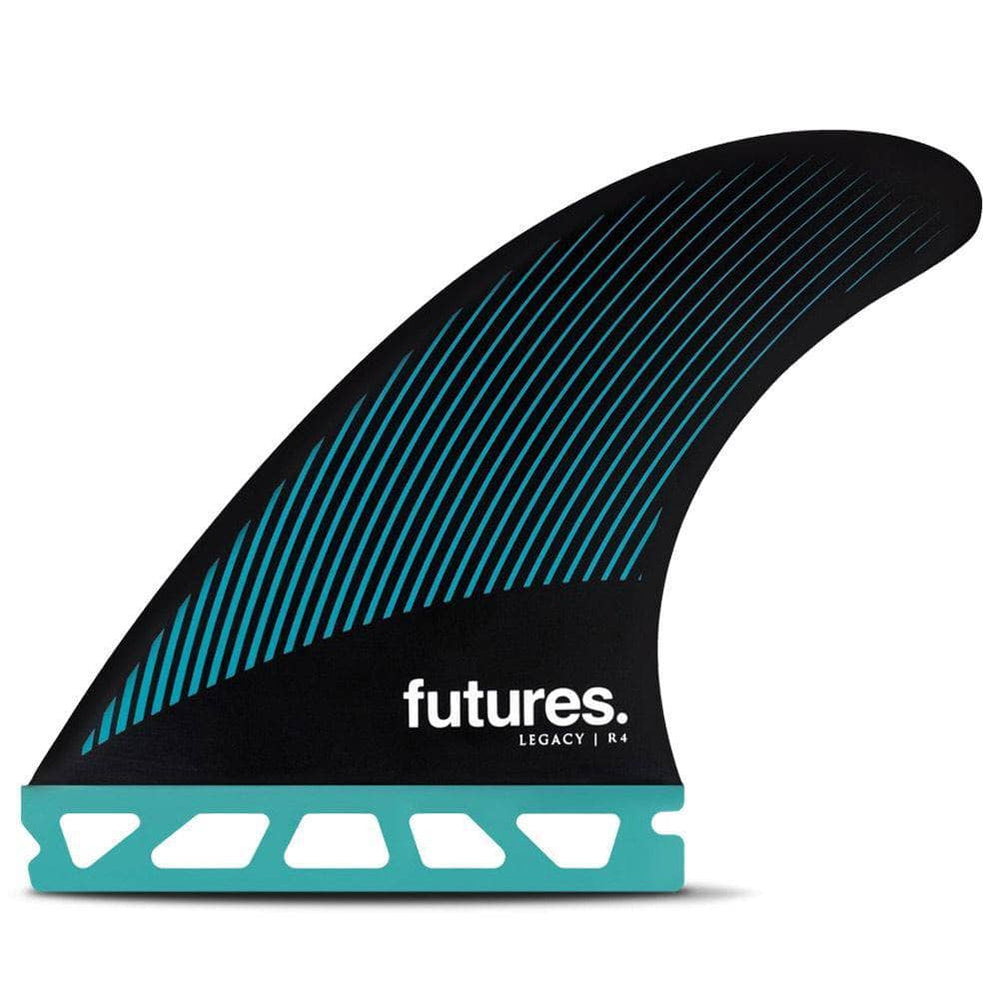 Futures R4 Legacy Surfboard Fins - Teal Black Futures Single Tab Fins by Futures Small Fins