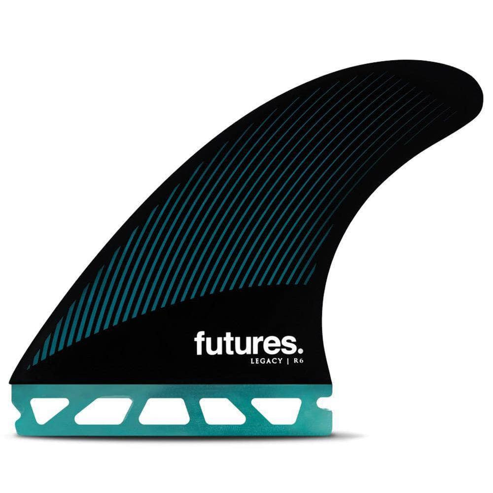 Futures R6 Legacy Surfboard Fins - Teal Black Futures Single Tab Fins by Futures Medium Fins