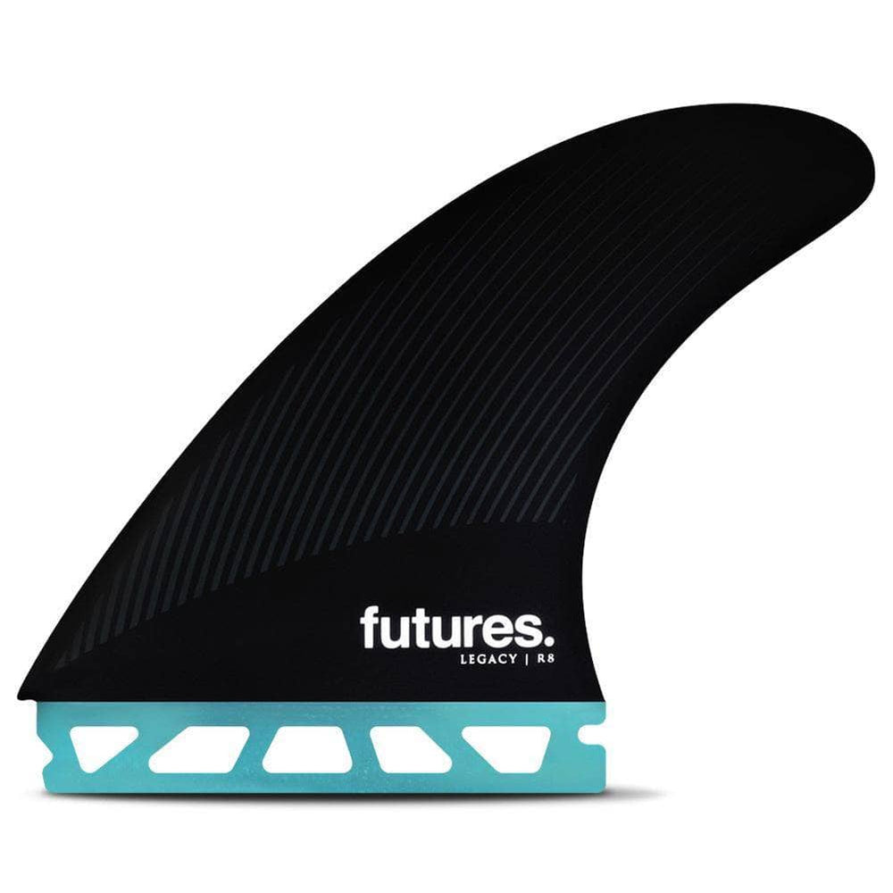 Futures R8 Legacy Surfboard Fins - Teal Black Futures Single Tab Fins by Futures Large Fins