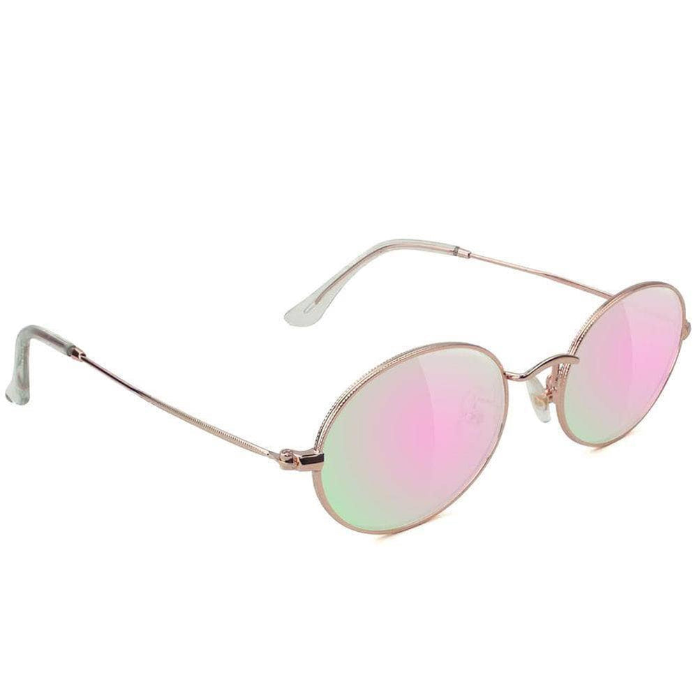 Glassy Stark - Rose Gold Pink Mirror Square/Rectangular Sunglasses by Glassy N/A