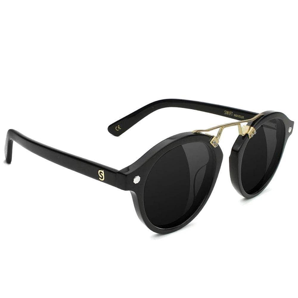 Glassy Swift Premium Polarised High Roller Sunglasses - Black Gold Round Sunglasses by Glassy N/A