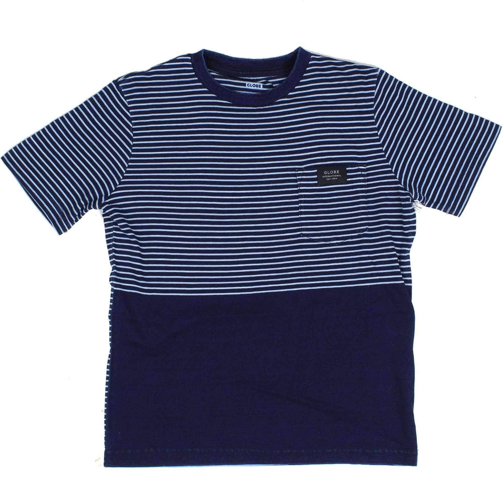 Globe Boys Boxer T-Shirt in Indigo Stripe Boys Skate Brand T-Shirt by Globe