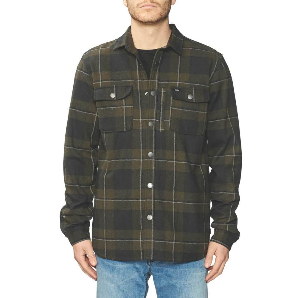 Globe Mens Flannel Shirt Globe Clifton L/S Shirt - Field Green