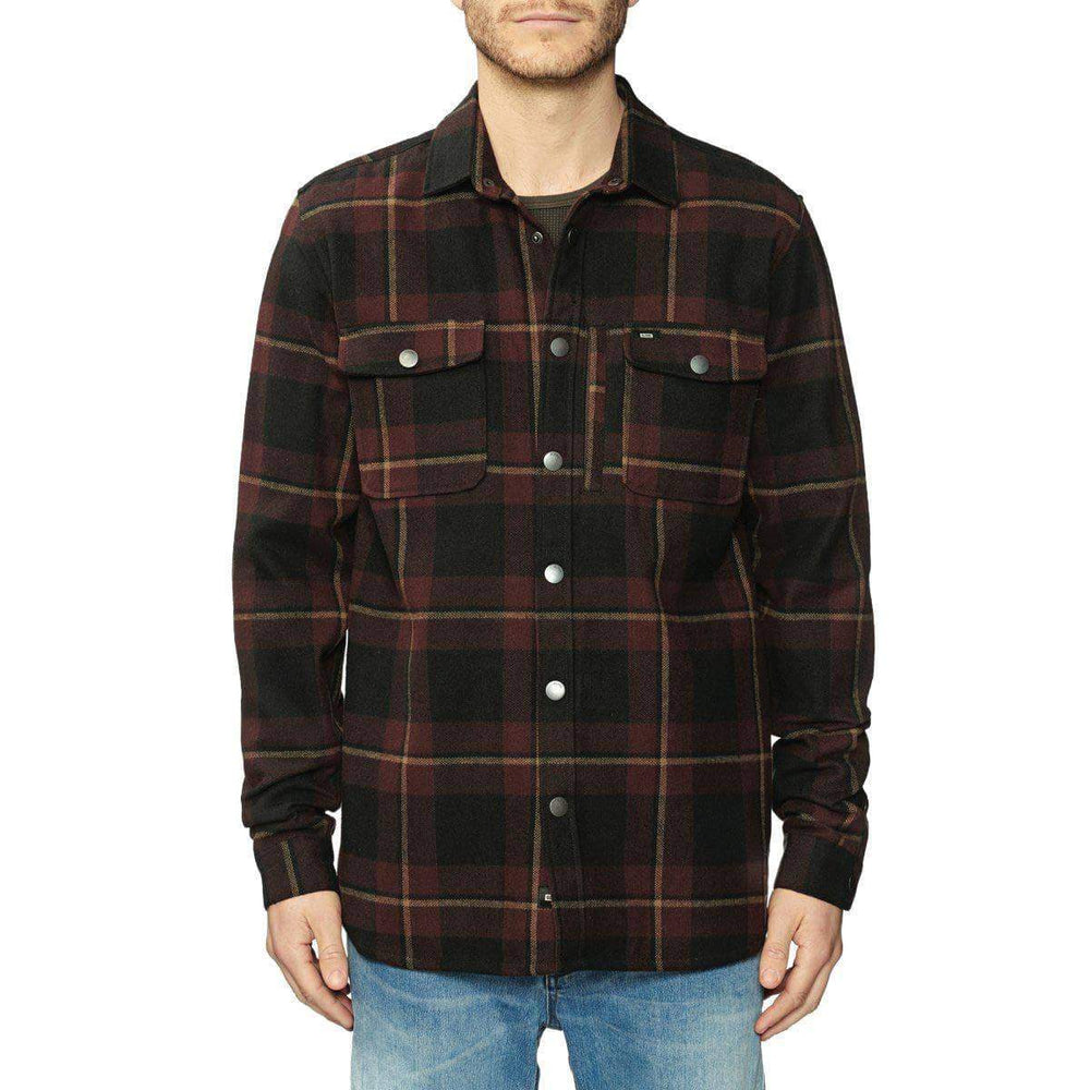 Globe Mens Flannel Shirt Globe Clifton L/S Shirt - Port