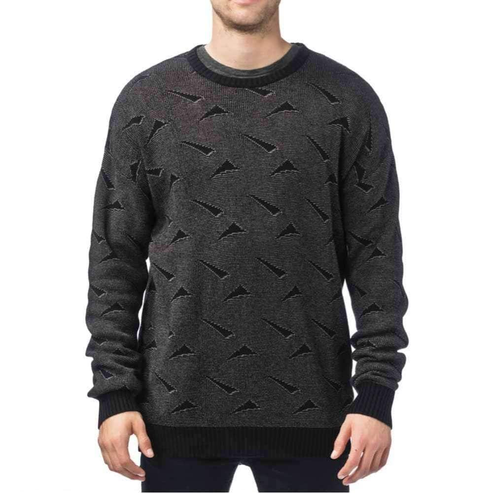 Globe Dion Triangles Crew Sweater in Charcoal Mens Crew Neck Sweatshirt by Globe