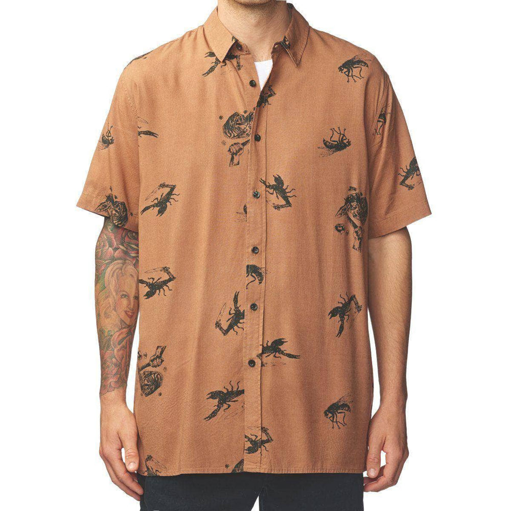 Globe Mens Casual Shirt Globe Hard Time S/S Shirt - Sierra