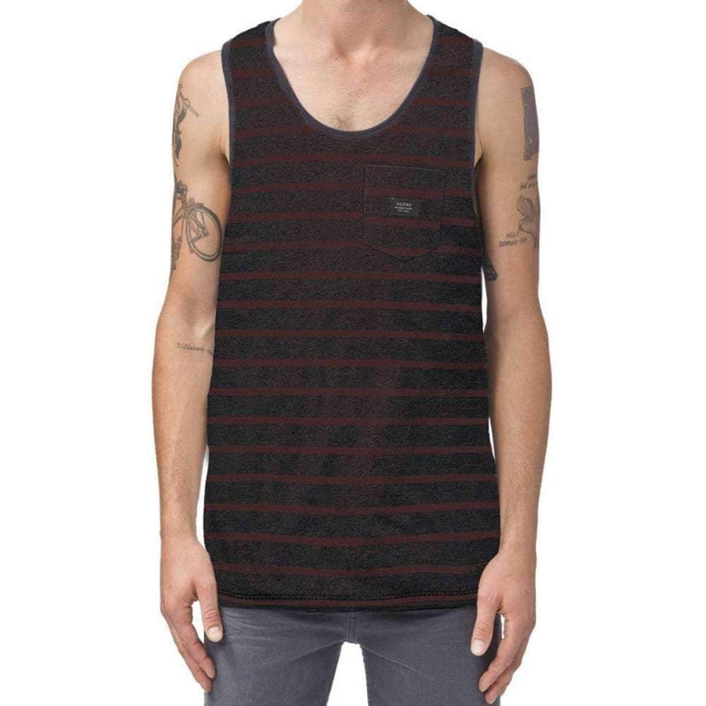 Globe Moonshine Pocket Singlet Vest in Brick Slub Mens Surf Brand Vest/Tank Top by Globe