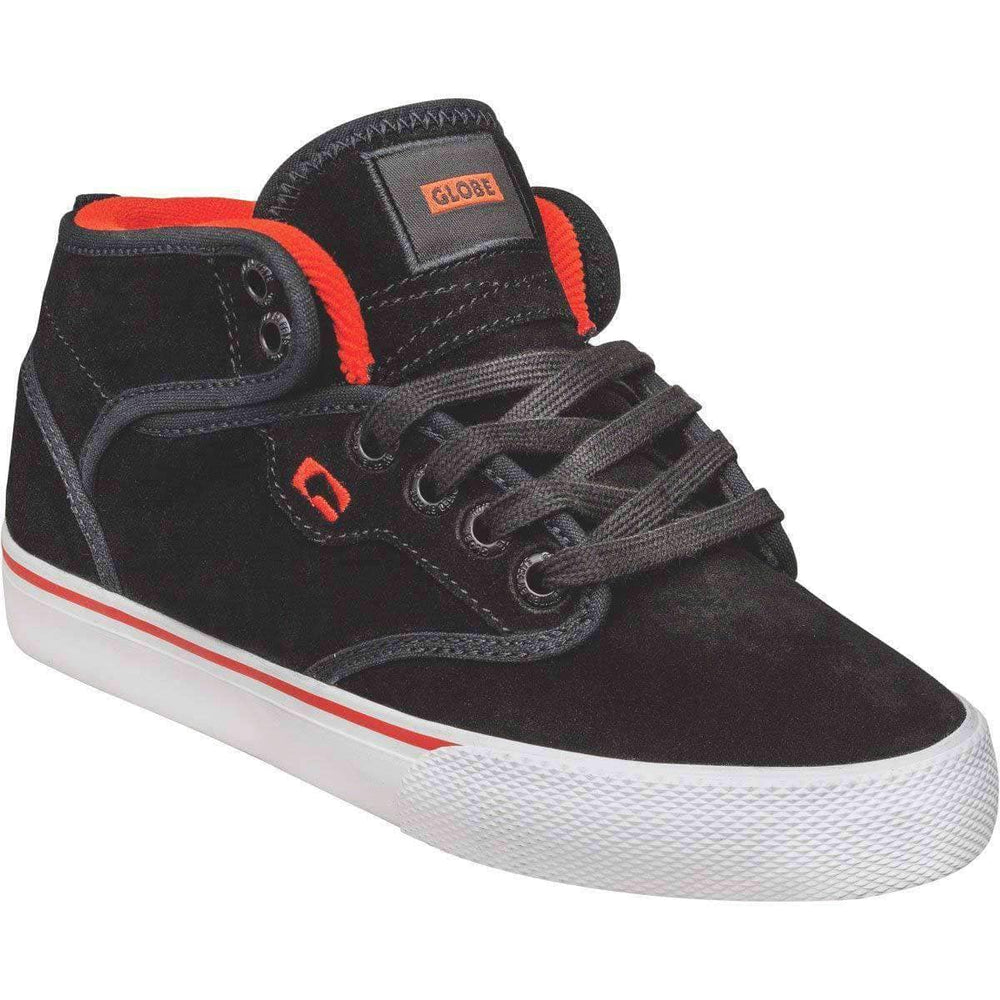 Globe Motley Mid Kids Shoes - Black Suede White Boys Skate Shoes by Globe