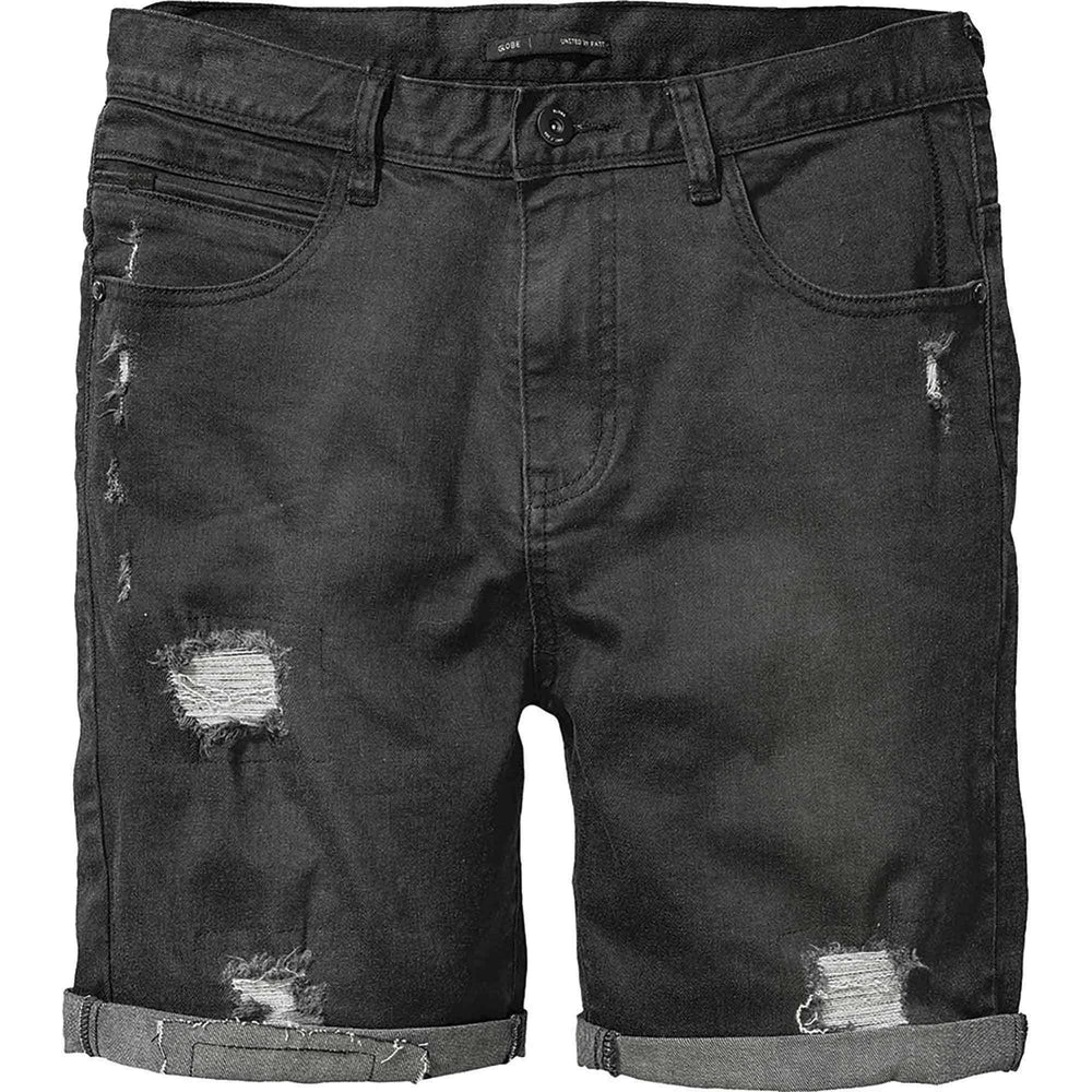 Globe Select Ripped Denim Walkshort in Black Ripped Mens Walk Shorts by Globe