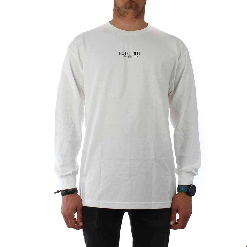 Hotel Blue Logo L/S T-Shirt in White Mens Skate Brand T-Shirt by Hotel Blue