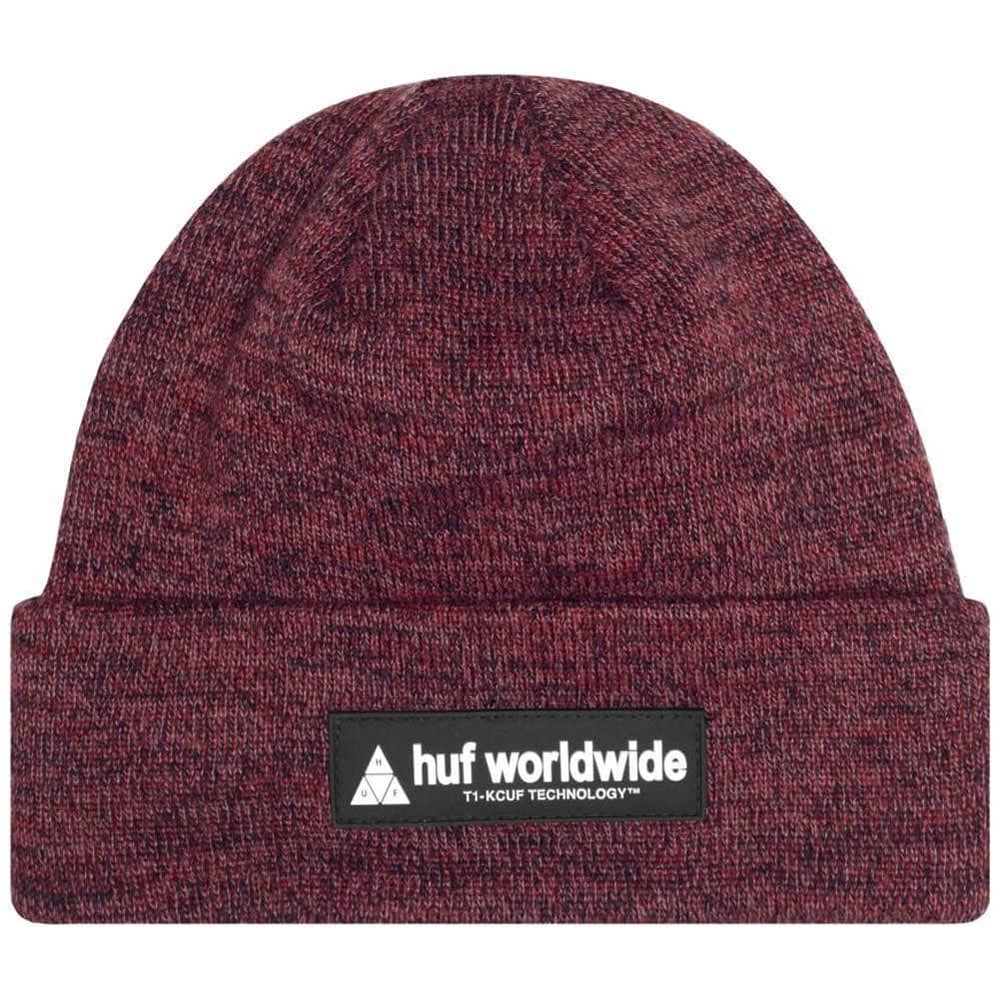 Huf Nystrom Beanie Rose Wood Red O/S (one size) Fold Beanie Hat by Huf