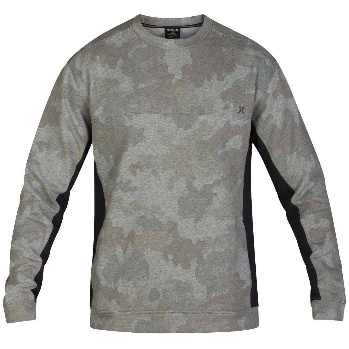 Hurley Mens Graphic Sweatshirt Hurley Dri-Fit Naturals Fleece Crew - Camo Green
