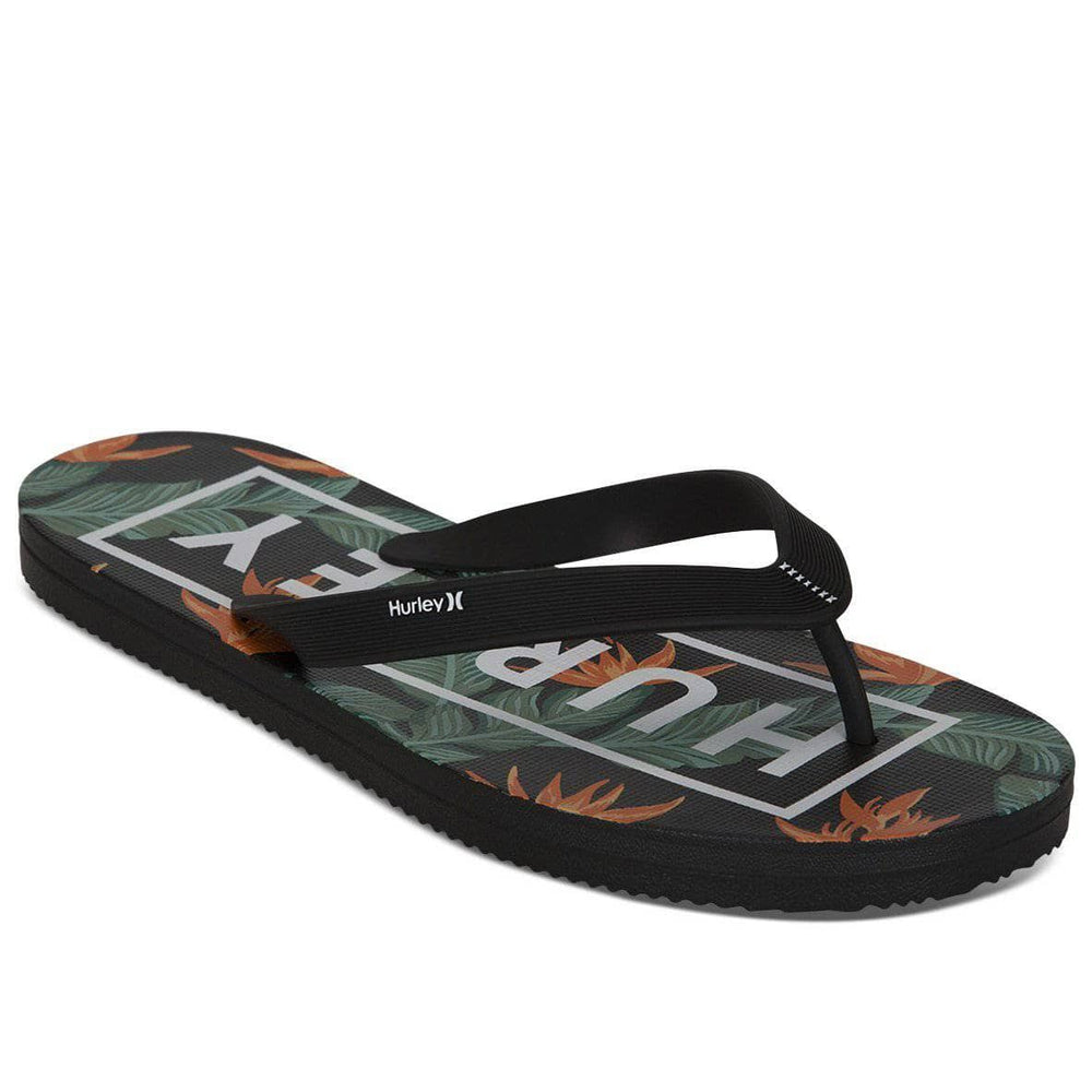 Hurley One & Only 2.0 Printed Sandals - Black Mens Flip Flops by Hurley
