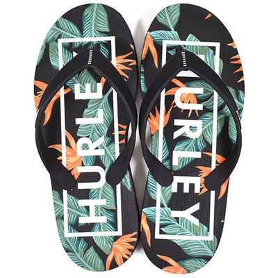 Hurley Mens Flip Flops Hurley One & Only 2.0 Printed Sandals - Black