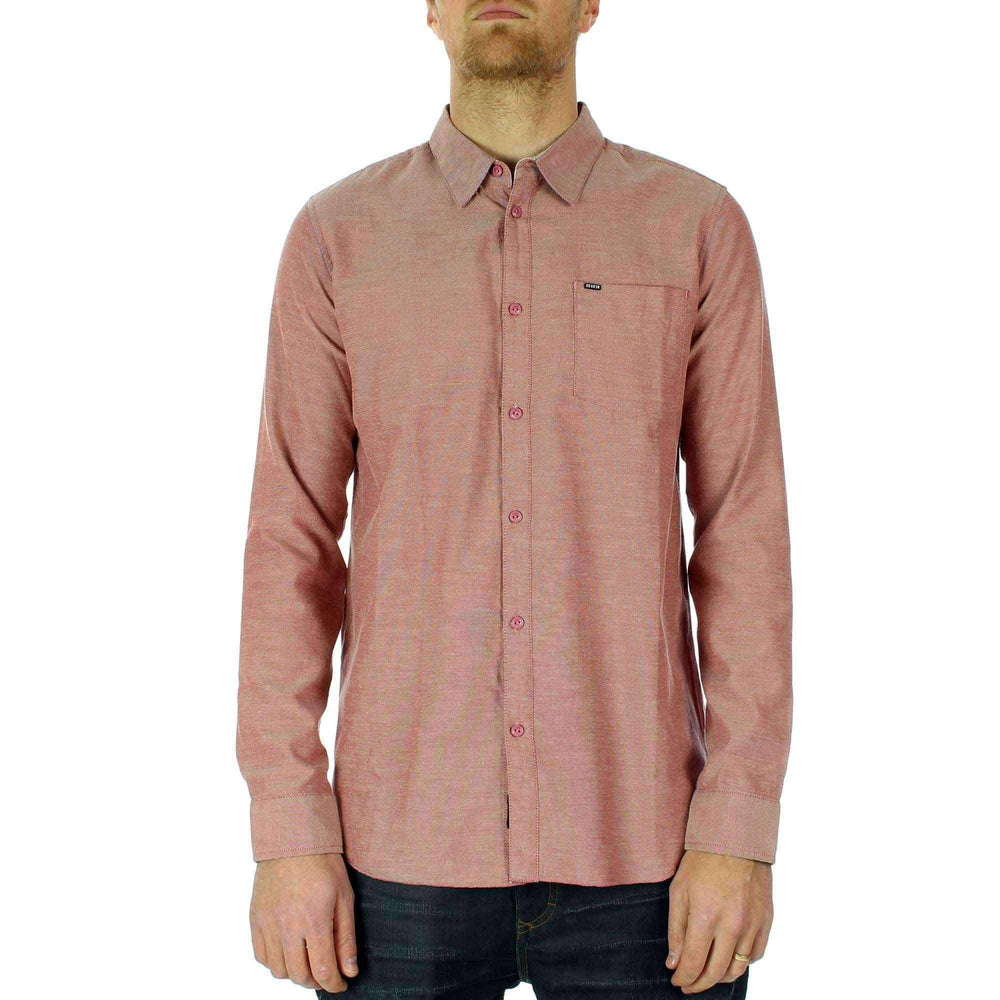 Krew Mens Broken Long Sleeve Shirt in Terracotta Mens Casual Shirt by Kr3w