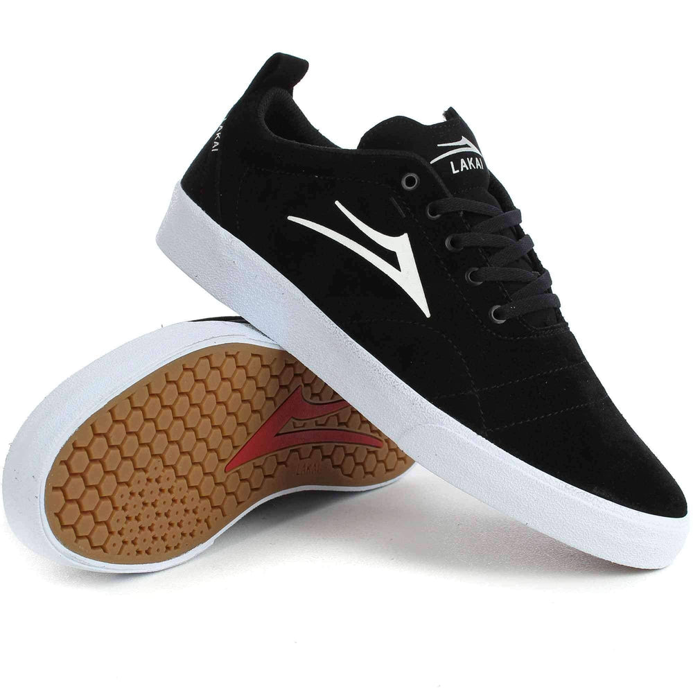 Lakai Bristol Shoes in Black/White Suede Mens Skate Shoes by Lakai