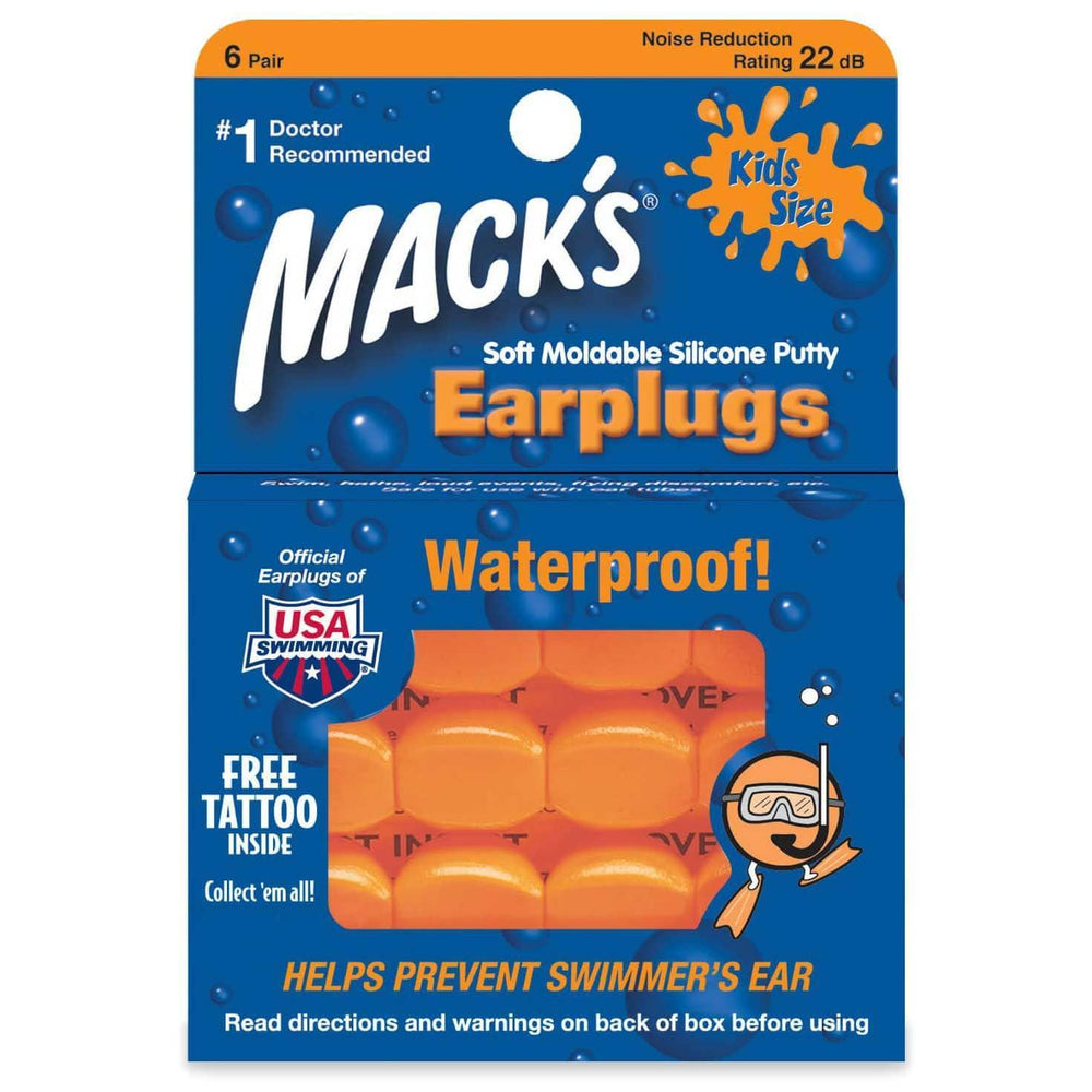 Macks Kids Silicone Ear Plugs Orange O/S (one size) Surfing Ear Plugs by Macks
