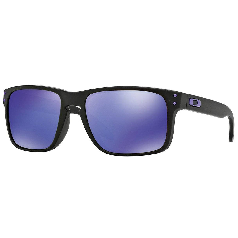 Oakley Holbrook Sunglasses - Matte Black - Violet Iridium Square/Rectangular Sunglasses by Oakley O/S (one size)