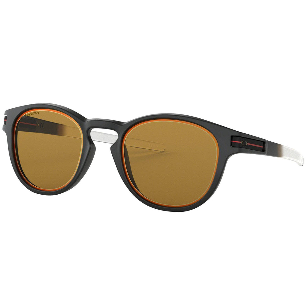 Oakley Latch Borderline Sunglasses - Matte Black - Prizm Bronze Wrap Around Sunglasses by Oakley O/S (one size)