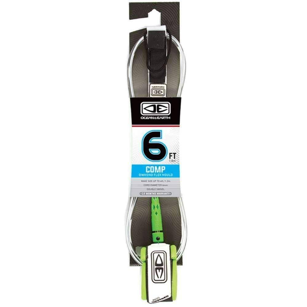 Ocean & Earth 6ft Regular Comp Leash 6ft Surfboard Leash by Ocean and Earth White / 6ft