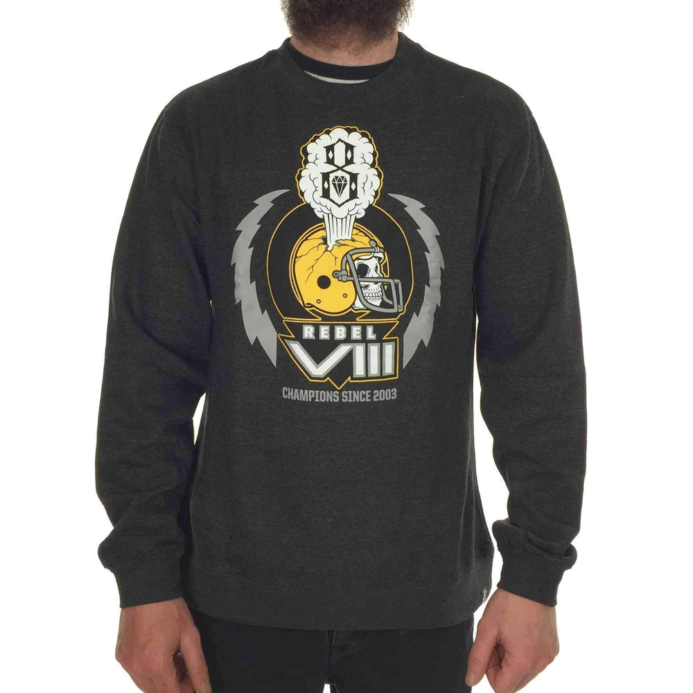 Rebel 8 Mens Graphic Sweatshirt Rebel 8 Mens Grid Iron Crewneck in Heather Charcoal