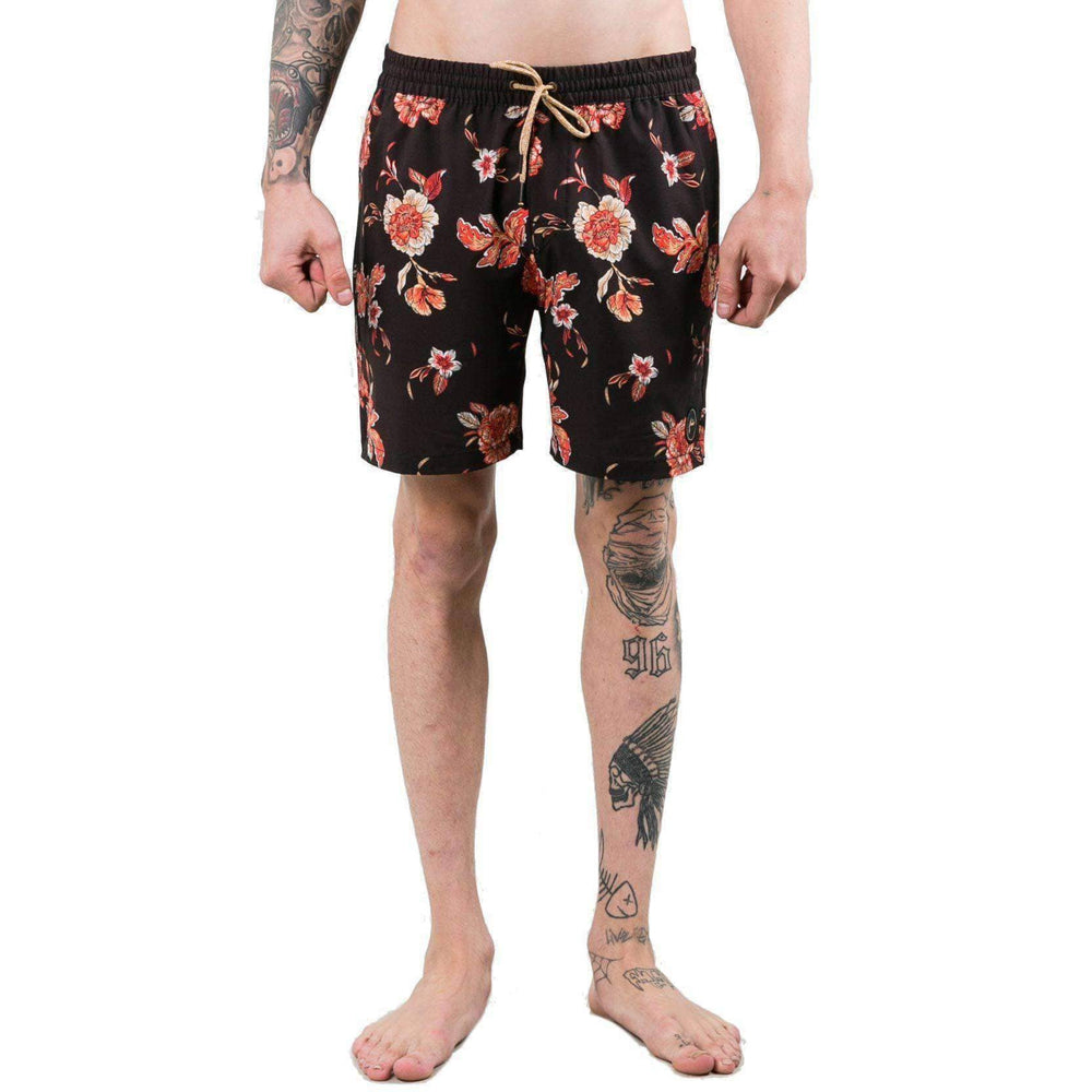 Rusty Heathen Elastic Boardshort in Black Mens Boardshorts by Rusty