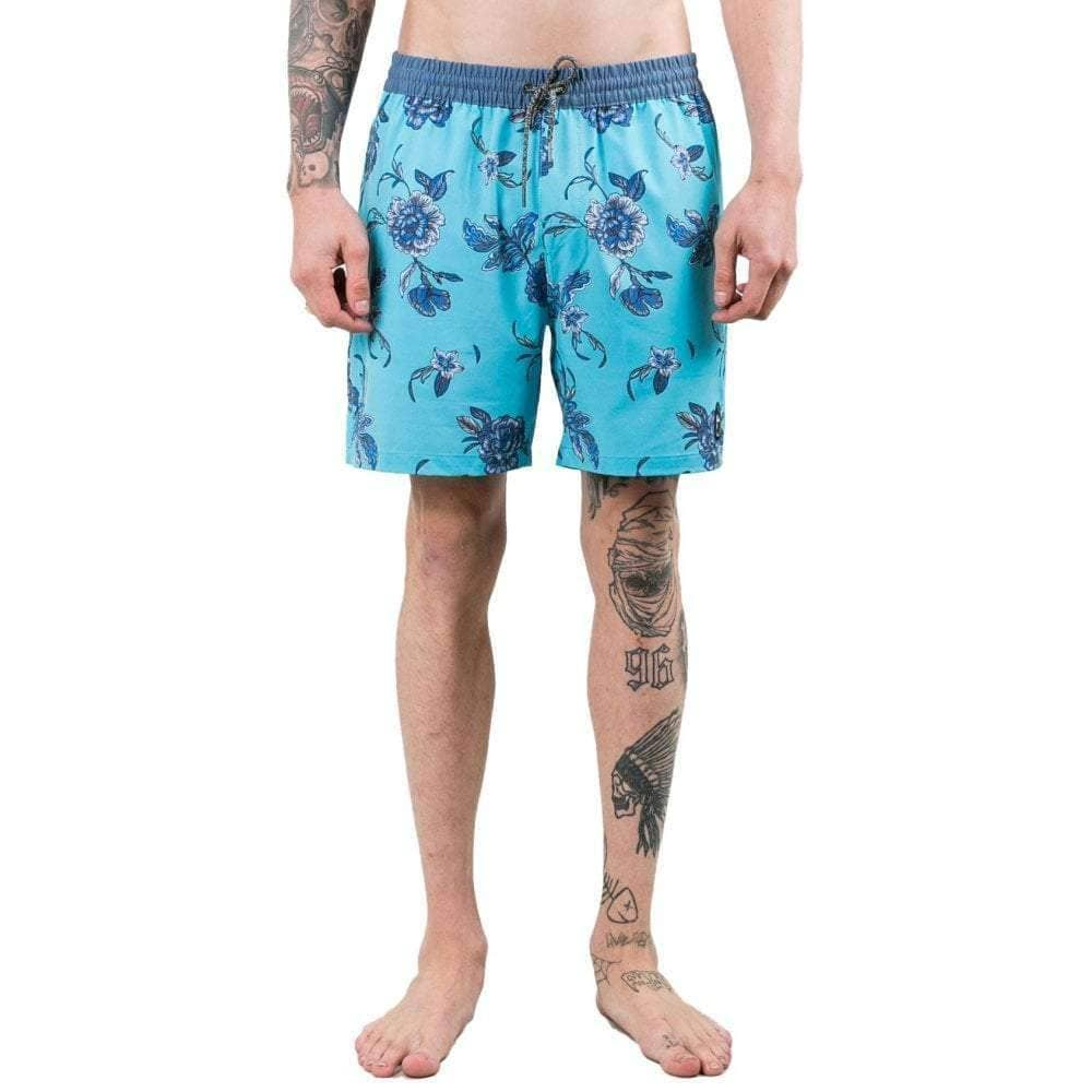 Rusty Heathen Elastic Boardshort in Maui Blue Mens Boardshorts by Rusty