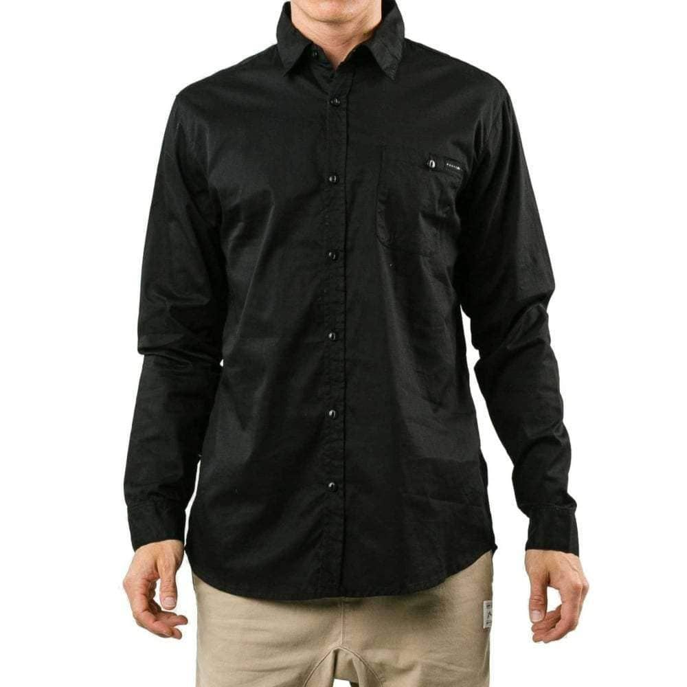 Rusty Sunar L/S Shirt in Black Mens Casual Shirt by Rusty