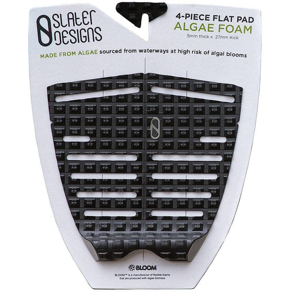 Slater Designs 4 Piece Tail Pad Slater Designs 4 Piece Flat Traction Algae Foam Tail Pad - Black/Grey O/S (one size)