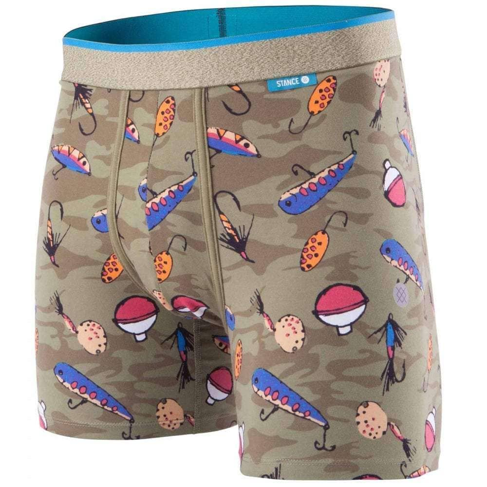 Stance Bait and Tackle Wholester Boxers in Green Mens Boxer Briefs Underwear by Stance