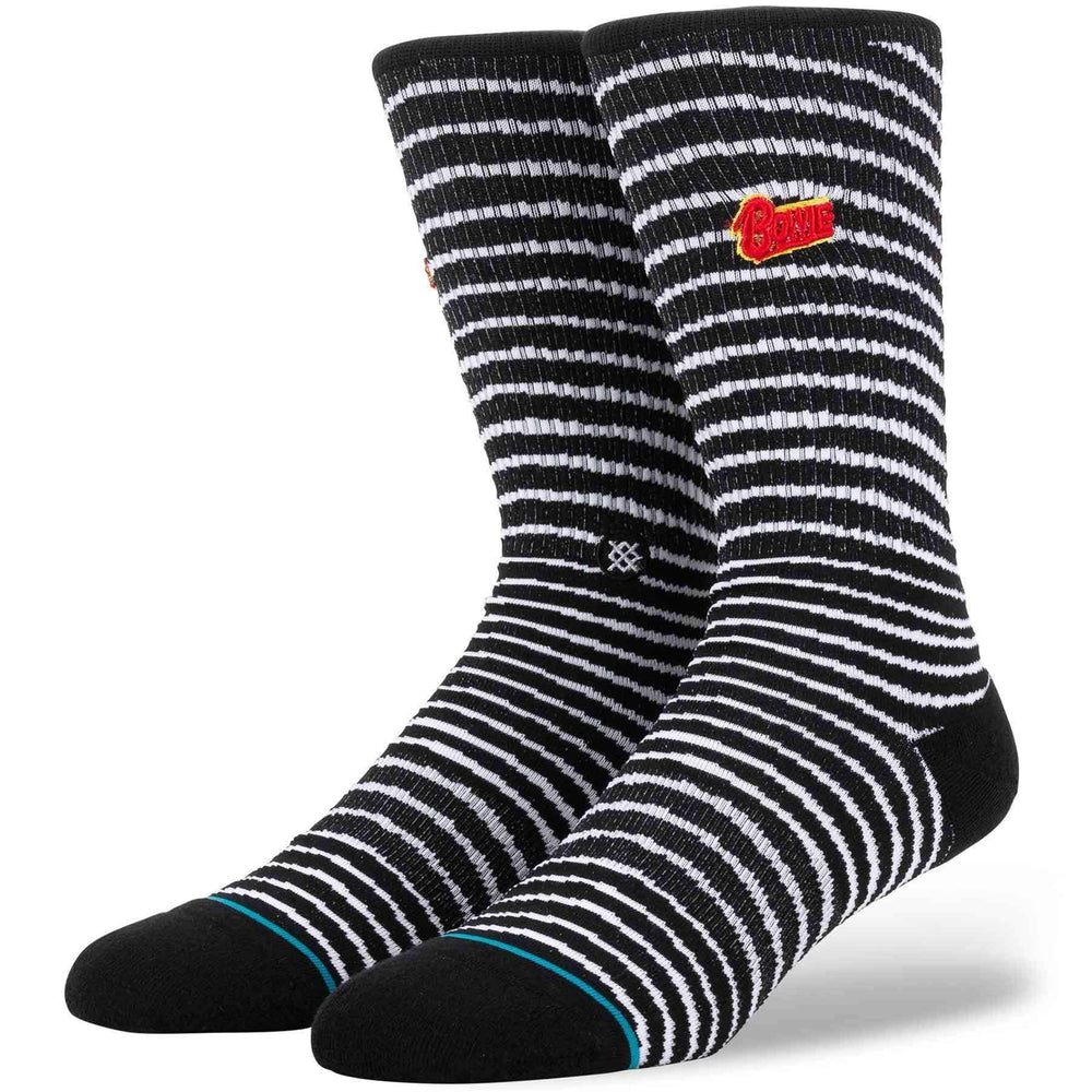Stance Black Star Bowie Socks - Black Mens Crew Length Socks by Stance