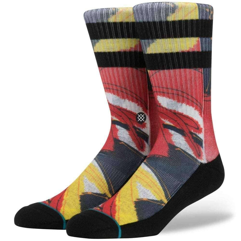Stance Del Rey Hoffman Fabrics Socks in Red Mens Crew Length Socks by Stance