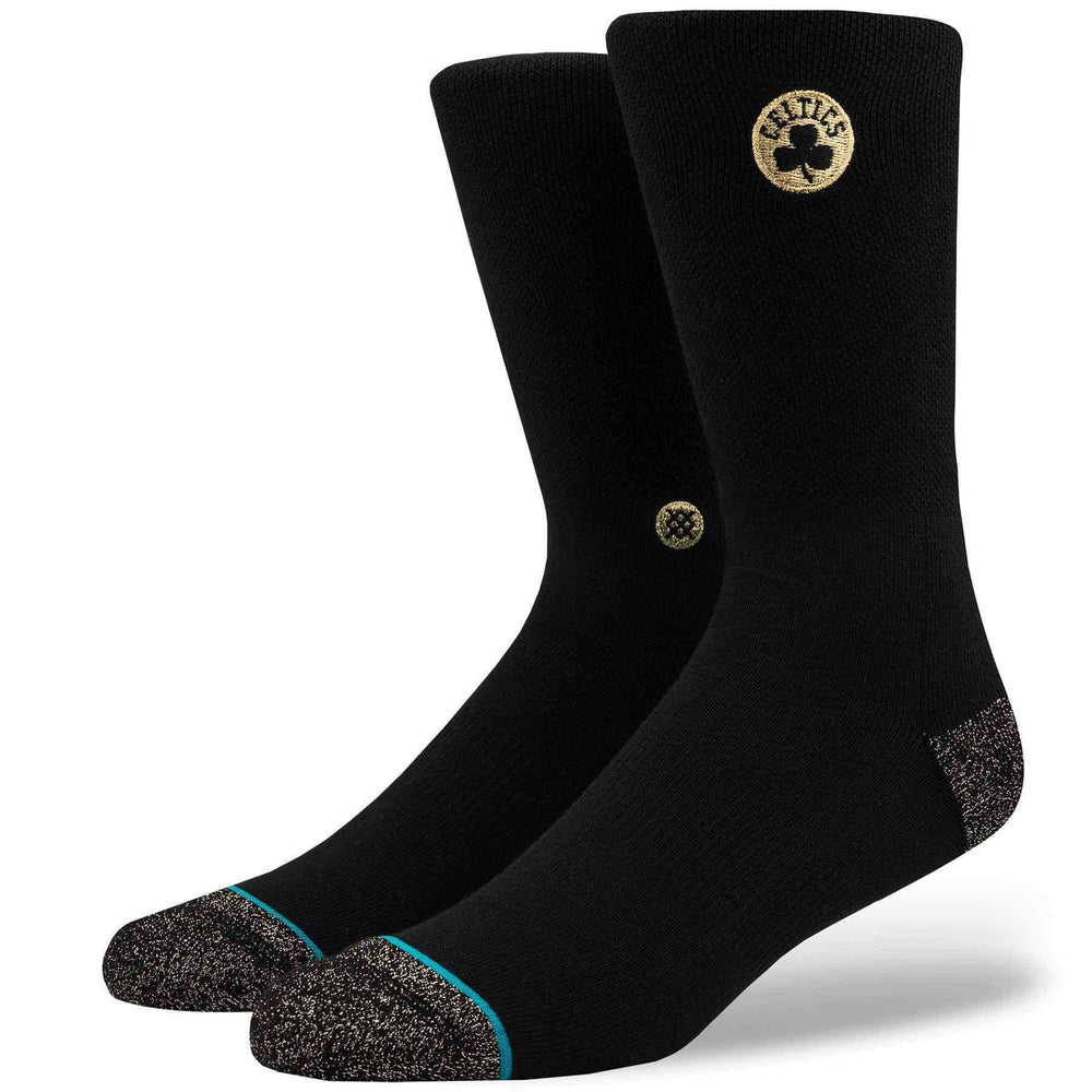 Stance NBA Arena Celtics Trophy Socks in Black/Gold Mens Crew Length Socks by Stance