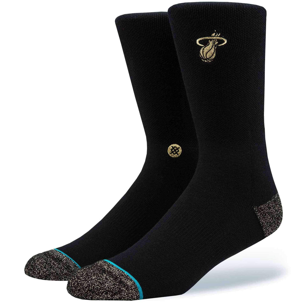 Stance NBA Arena Heat Trophy Socks in Black/Gold Mens Crew Length Socks by Stance