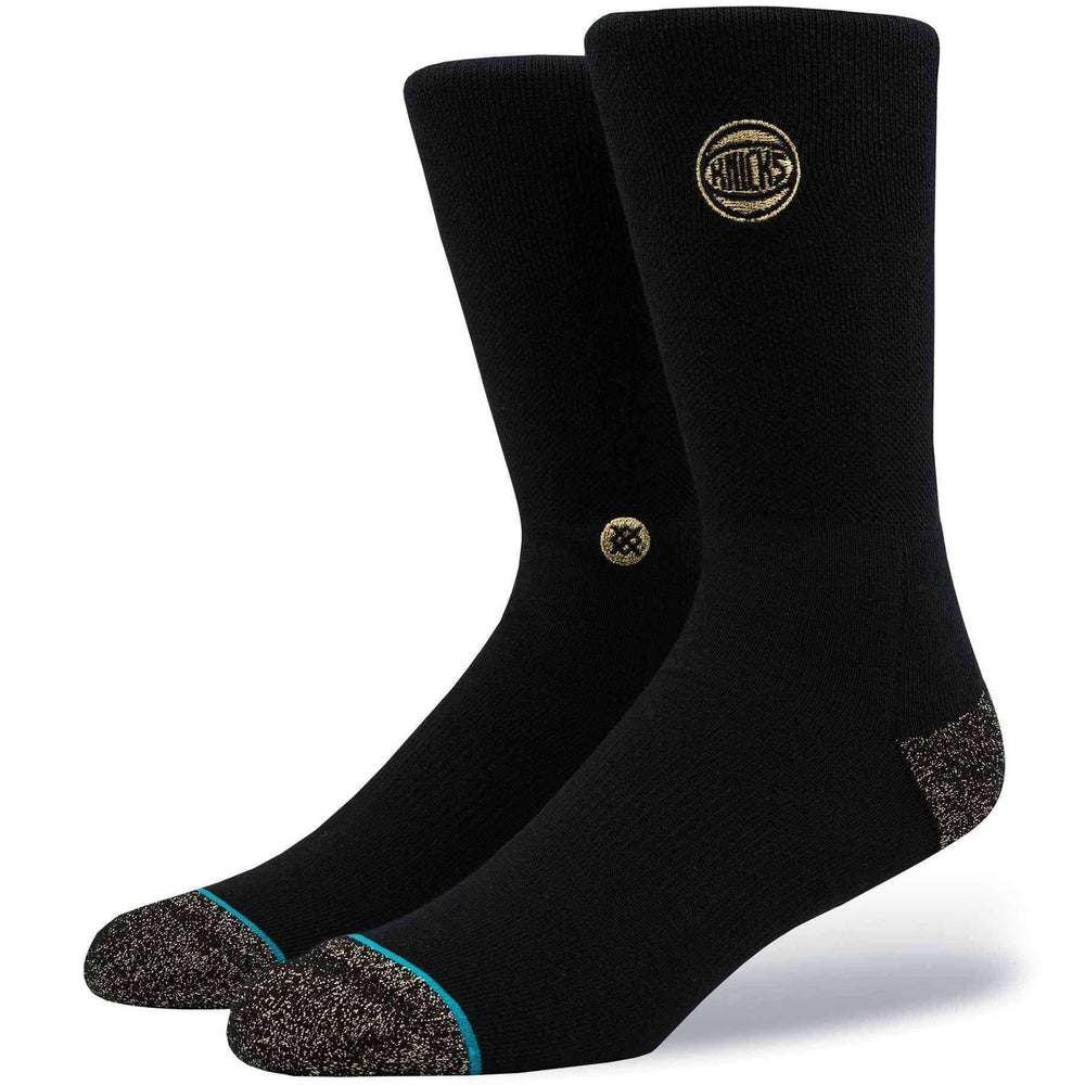 Stance NBA Arena Knicks Trophy Socks in Black/Gold Mens Crew Length Socks by Stance