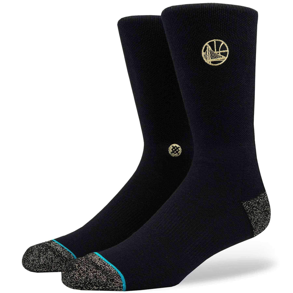 Stance NBA Arena Warriors Trophy Socks in Black/Gold Mens Crew Length Socks by Stance