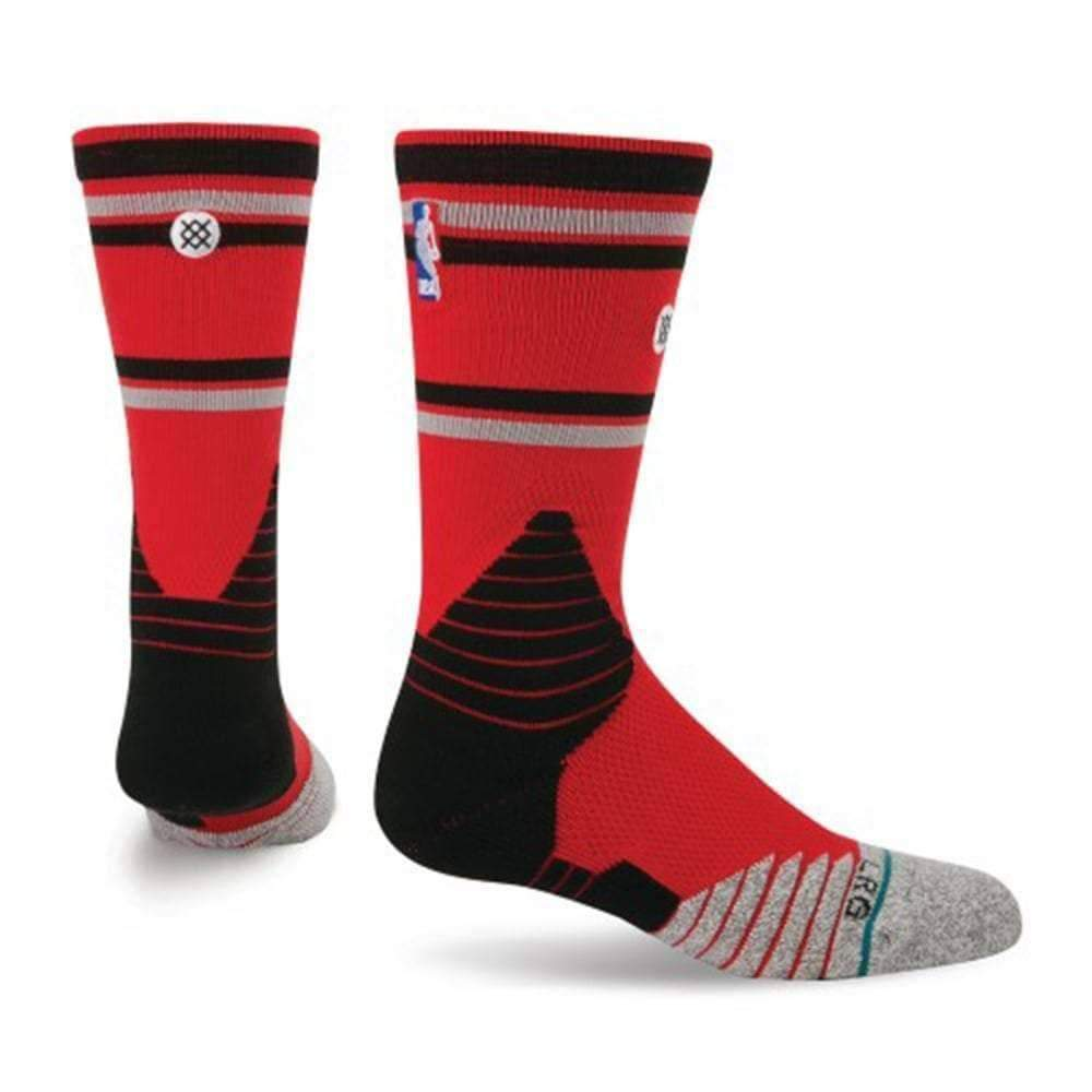 Stance NBA On Court Core Crew Raptors Basketball Socks in Red Mens Crew Length Socks by Stance