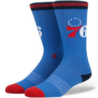 Stance NBA Sixers Jersey Socks in Blue Mens Crew Length Socks by Stance