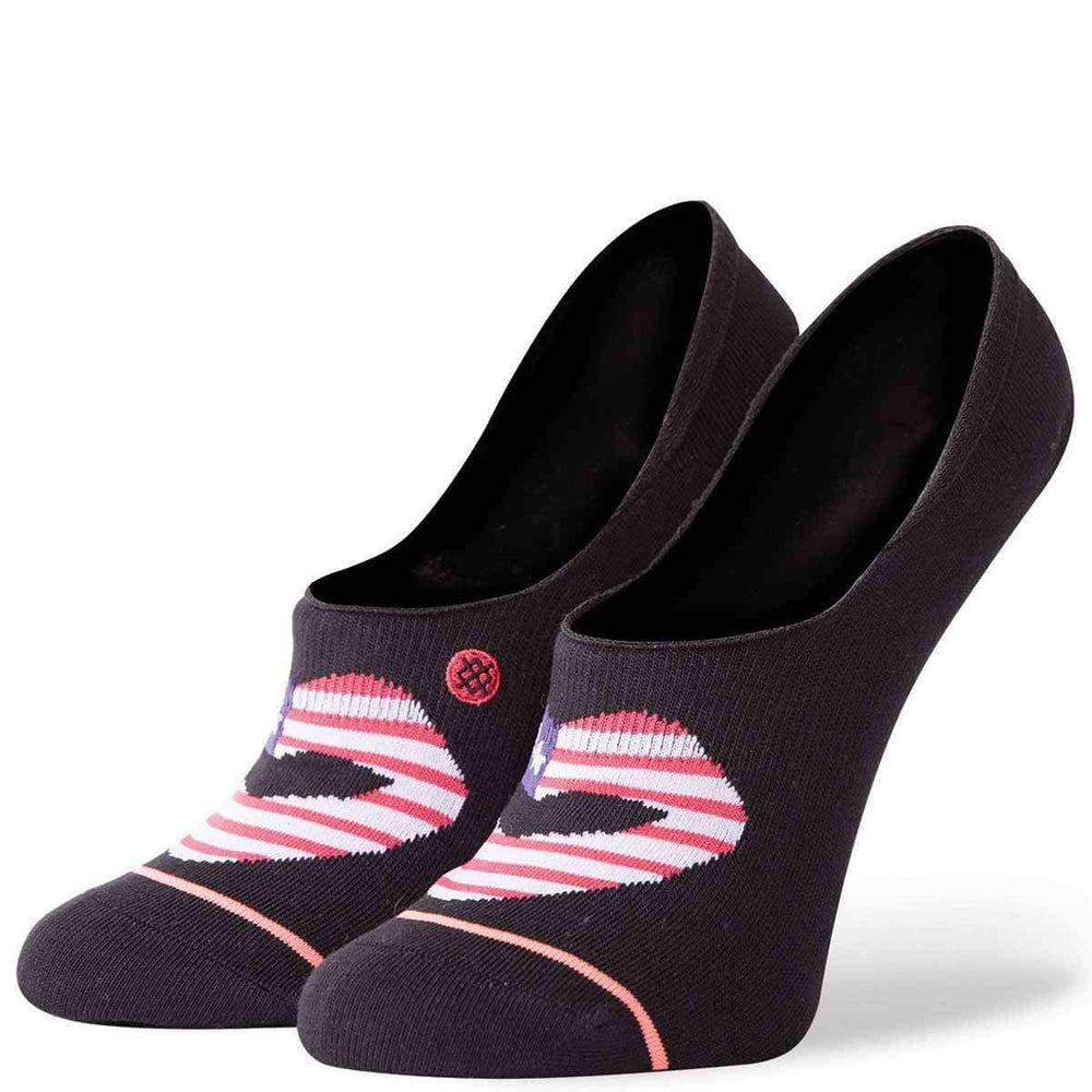 Stance Womens Kiss My Flag Super Invisible Socks in Black Black Womens Invisible/No Show Socks by Stance