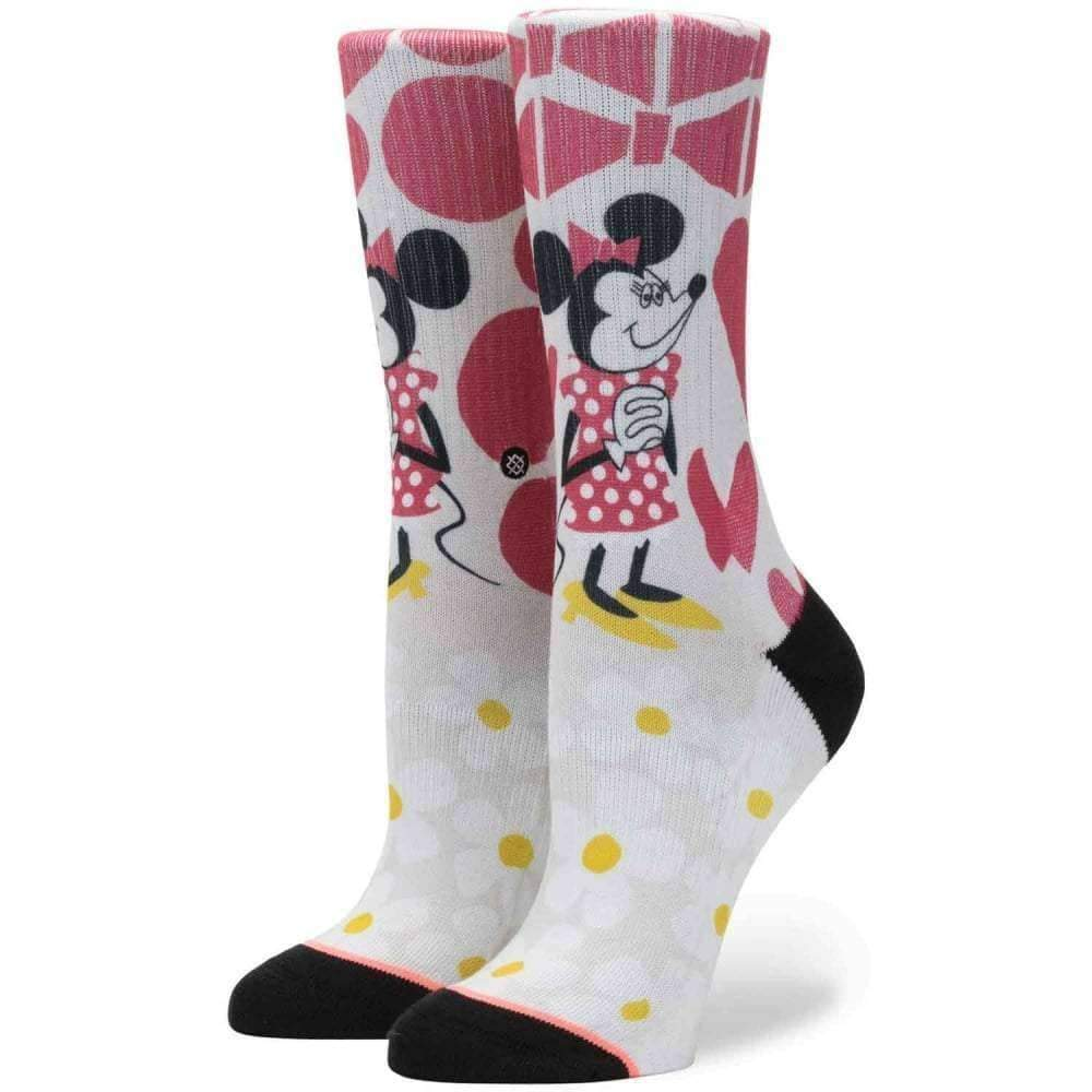 Stance X Disney Womens Yusuke Minnie Socks in Off White Womens Crew Length Socks by Stance