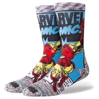 Stance x Marvel Iron Man Comic Socks - Grey Mens Crew Length Socks by Stance