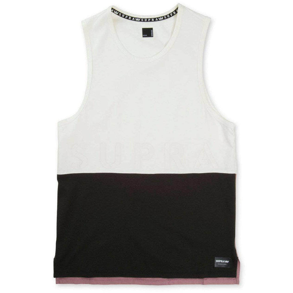 Supra Color Block Tank II Vest - Bone Black Mauve Mens Skate Brand Vest/Tank Top by Supra