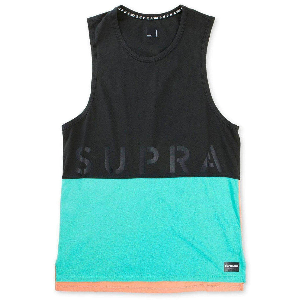 Supra Colour Block Tank II Vest - Black Electric Paradise Mens Skate Brand Vest/Tank Top by Supra