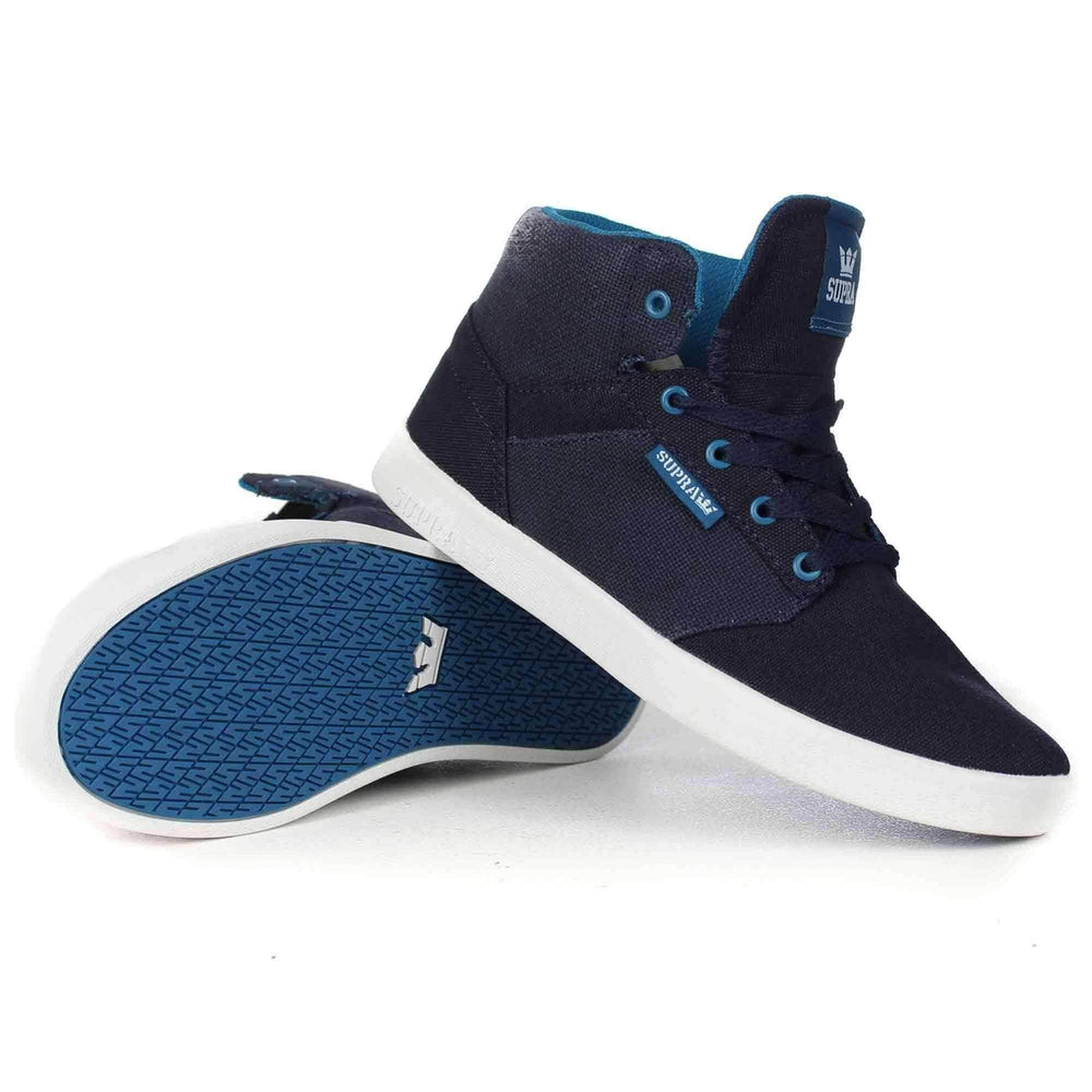 Supra Youths Yorek Hi Shoes in Midnight White Boys High Top Trainers by Supra