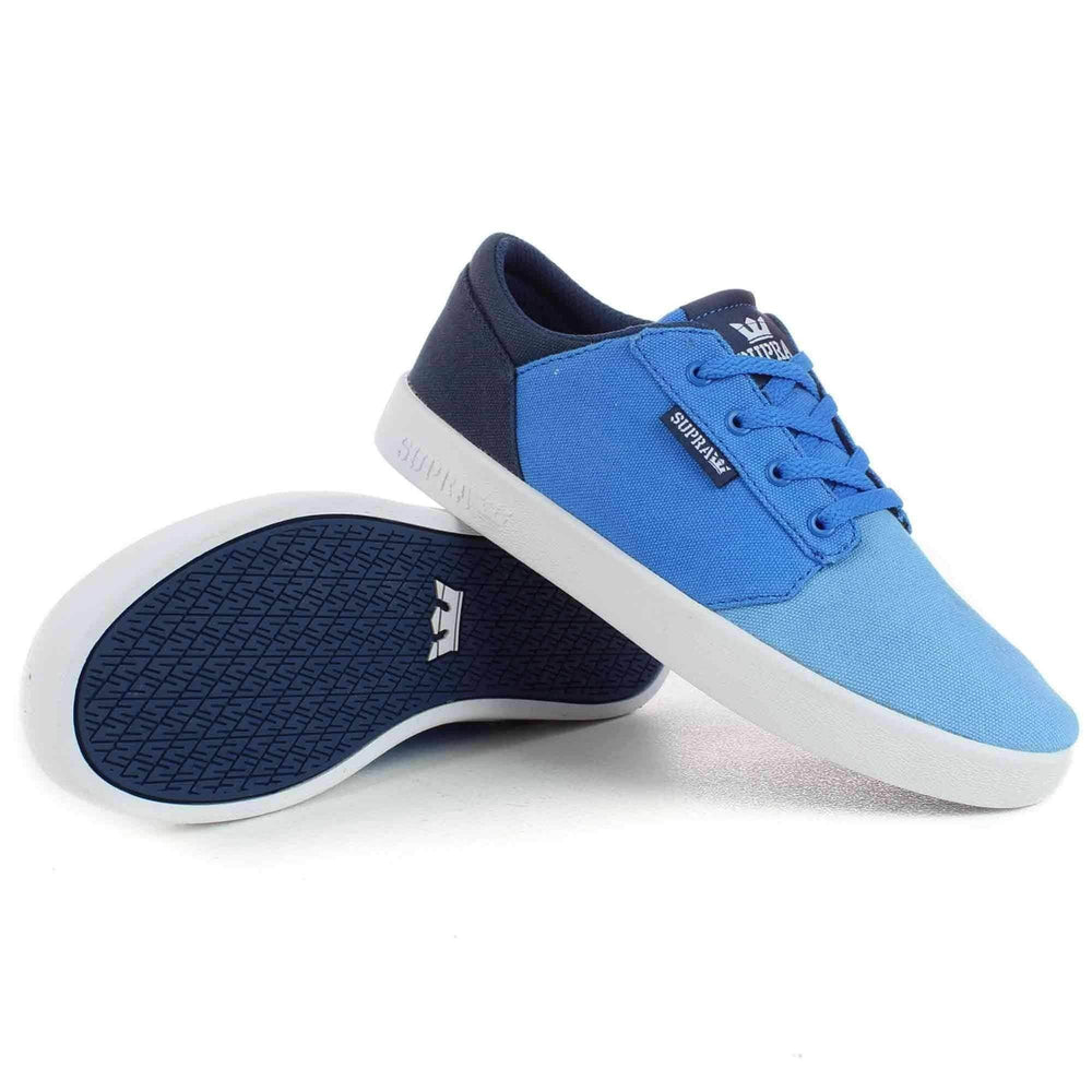 Supra Youths Yorek Low Shoes in Blue Fade White Boys Skate Shoes by Supra