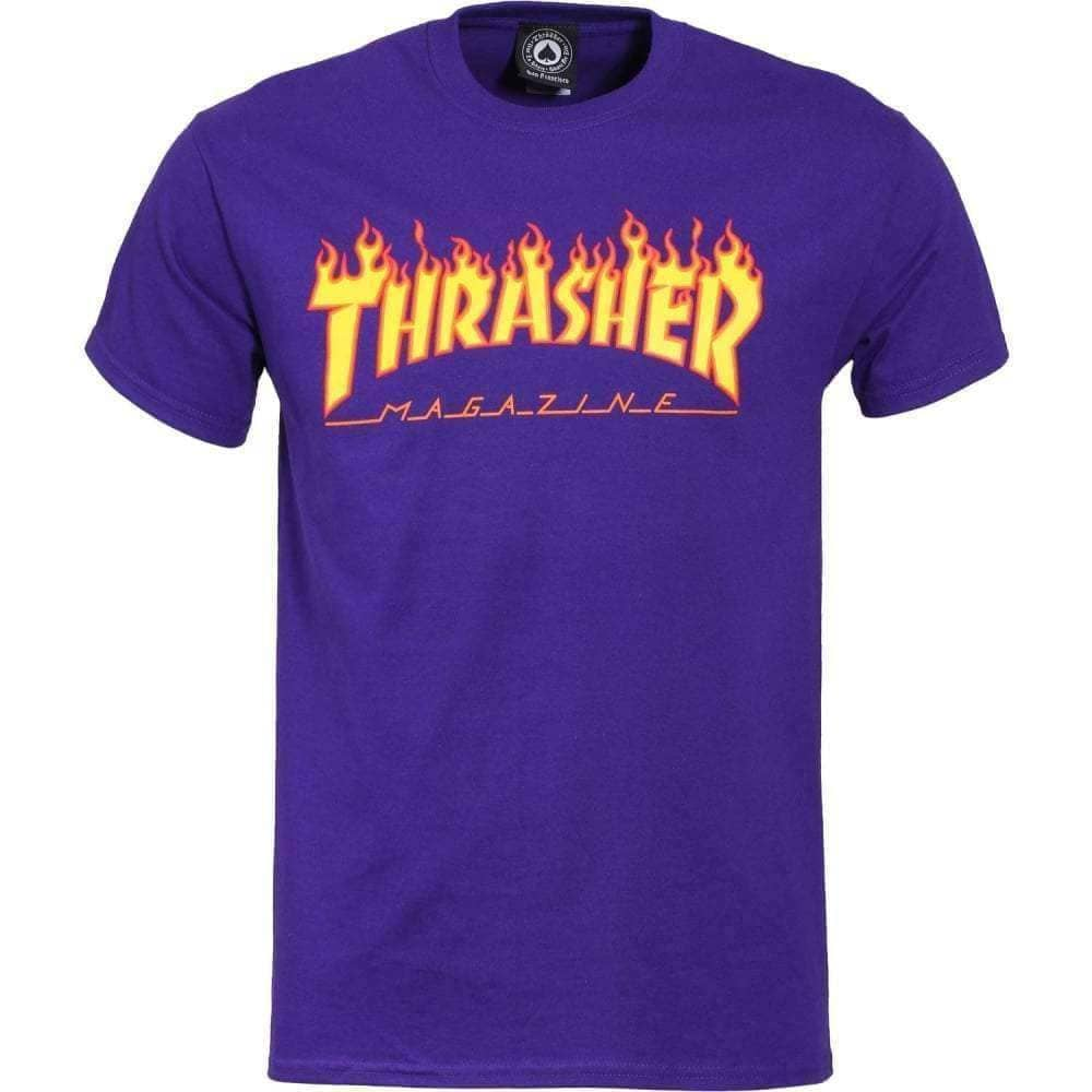 Thrasher Flame Logo T-Shirt - Purple Mens Graphic T-Shirt by Thrasher