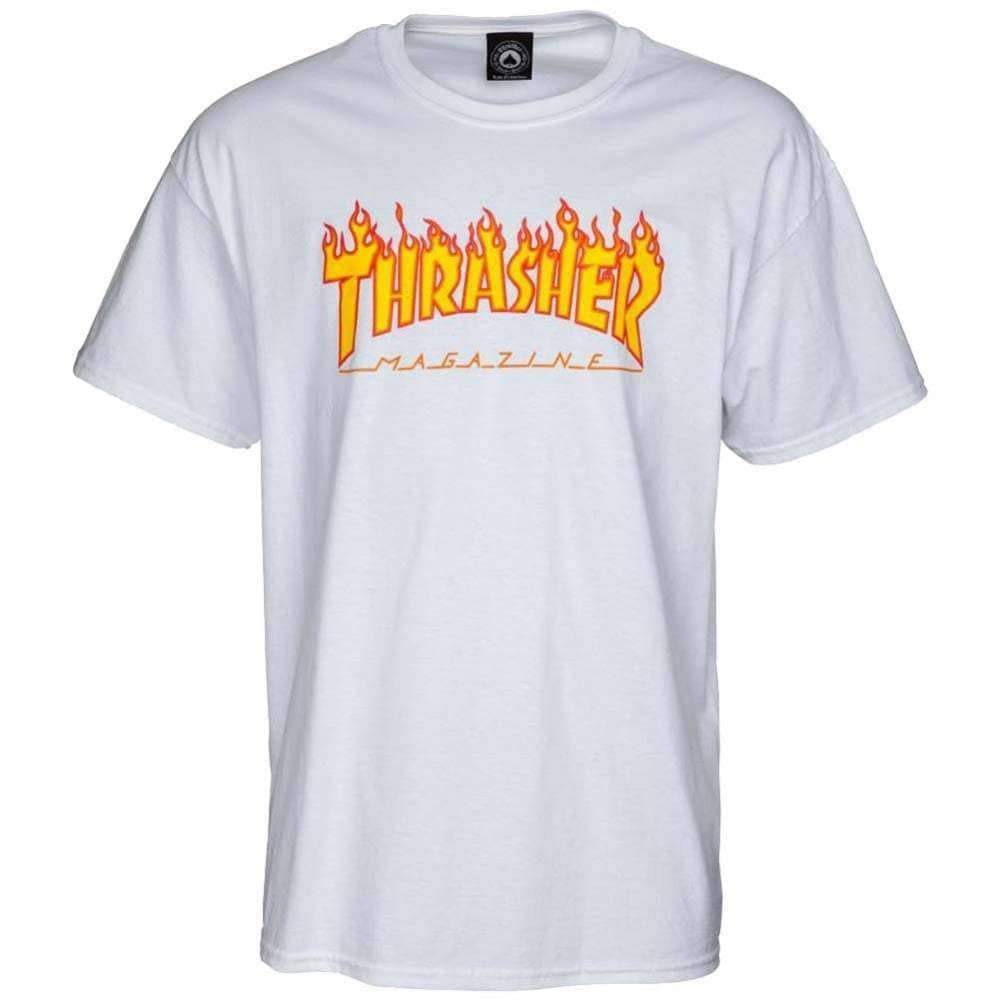 Thrasher Flame Logo T-Shirt in White Mens Graphic T-Shirt by Thrasher