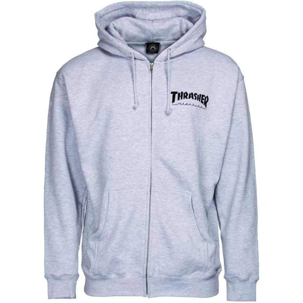 Thrasher Magazine Logo Zip Hoodie in Grey Mens Zip Up Hoodie by Thrasher