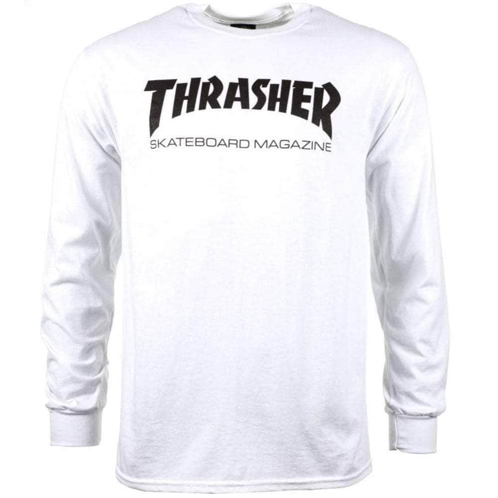 Thrasher Skate Mag Logo Longsleeve T-Shirt in White Mens Graphic T-Shirt by Thrasher